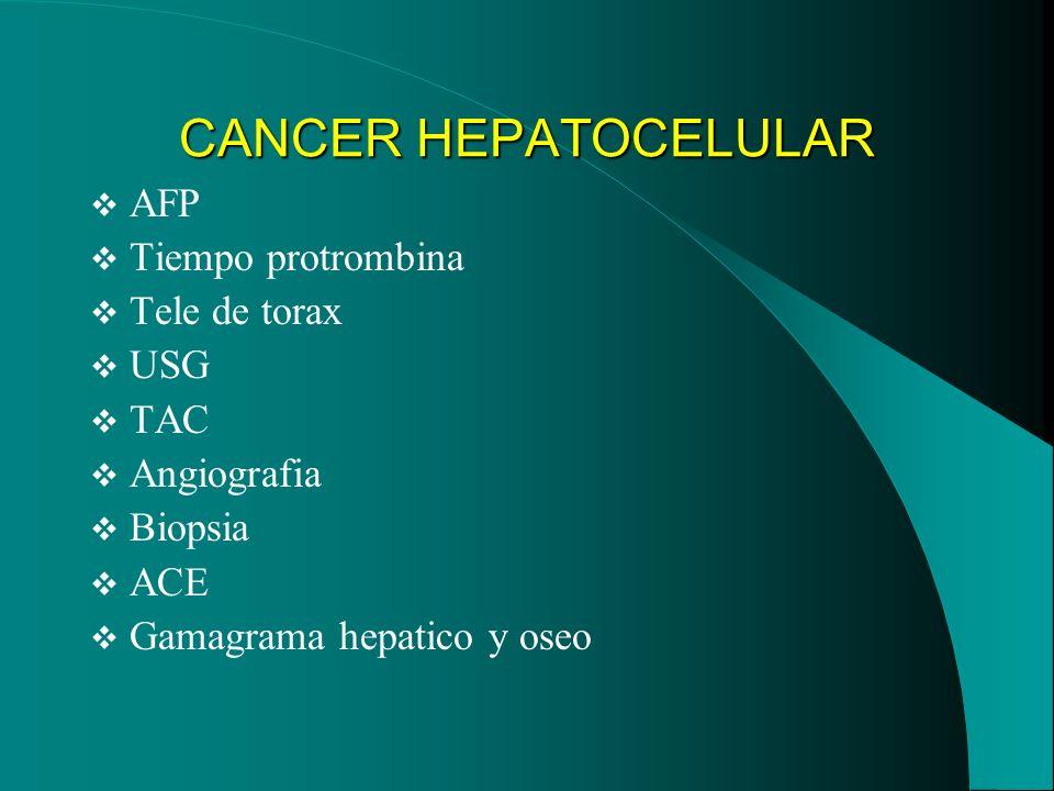 CANCER HEPATOCELULAR AFP Tiempo protrombina Tele de torax USG TAC