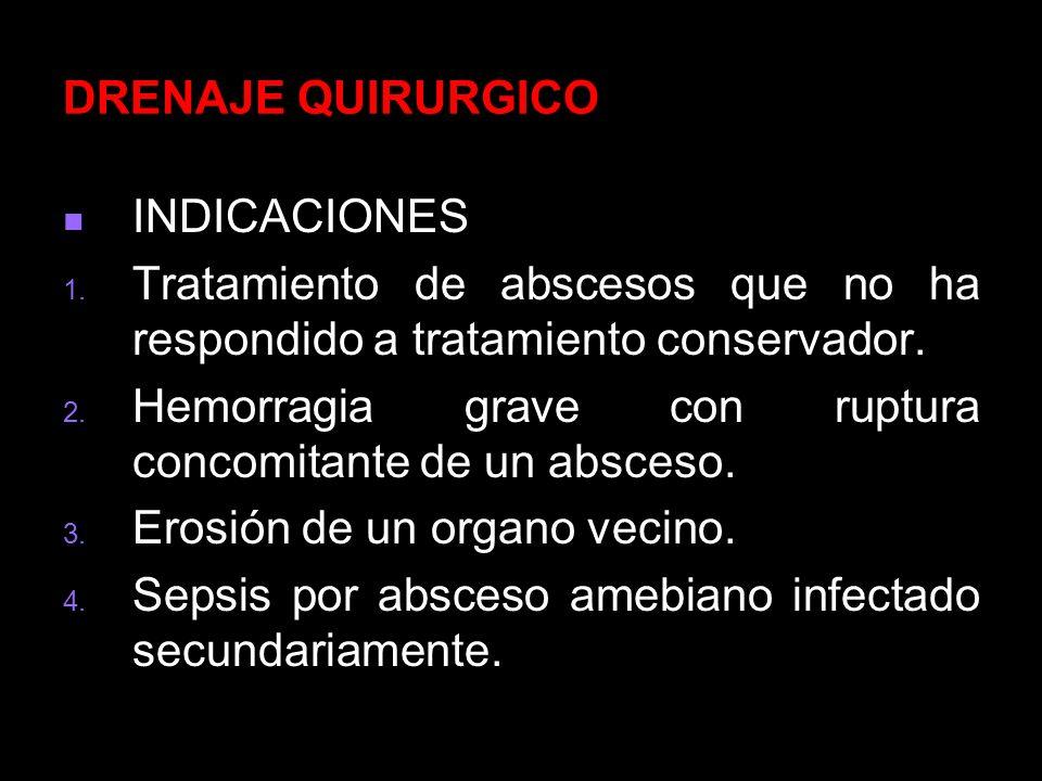 DRENAJE QUIRURGICOINDICACIONES. Tratamiento de abscesos que no ha respondido a tratamiento conservador.