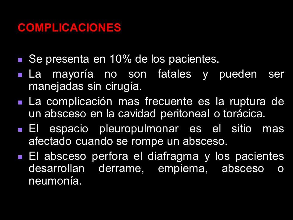 COMPLICACIONES Se presenta en 10% de los pacientes. La mayoría no son fatales y pueden ser manejadas sin cirugía.