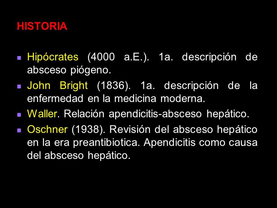 HISTORIA Hipócrates (4000 a.E.). 1a. descripción de absceso piógeno. John Bright (1836). 1a. descripción de la enfermedad en la medicina moderna.