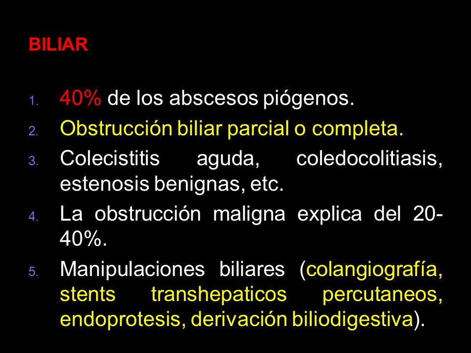 40% de los abscesos piógenos. Obstrucción biliar parcial o completa.