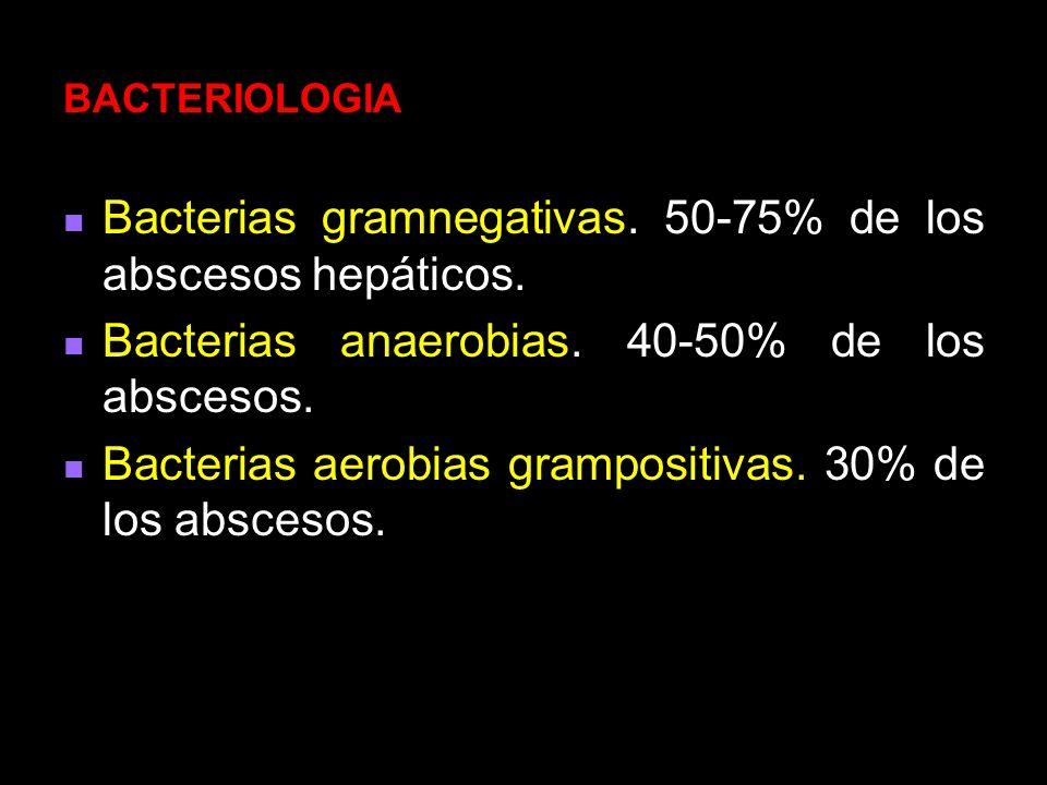 Bacterias gramnegativas. 50-75% de los abscesos hepáticos.