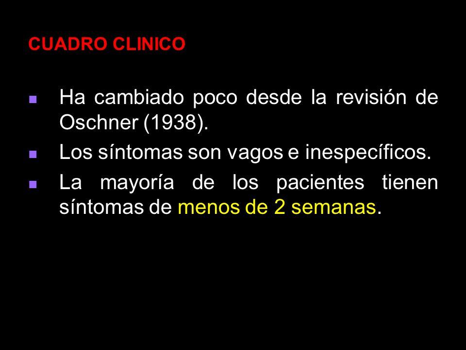 Ha cambiado poco desde la revisión de Oschner (1938).