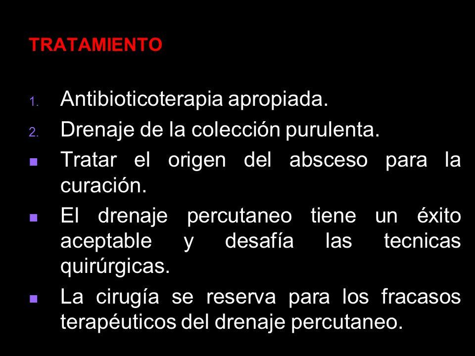 Antibioticoterapia apropiada. Drenaje de la colección purulenta.