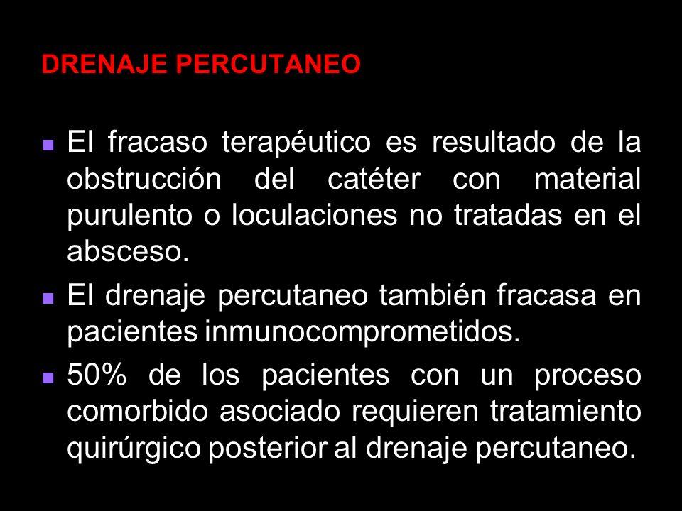 DRENAJE PERCUTANEO El fracaso terapéutico es resultado de la obstrucción del catéter con material purulento o loculaciones no tratadas en el absceso.