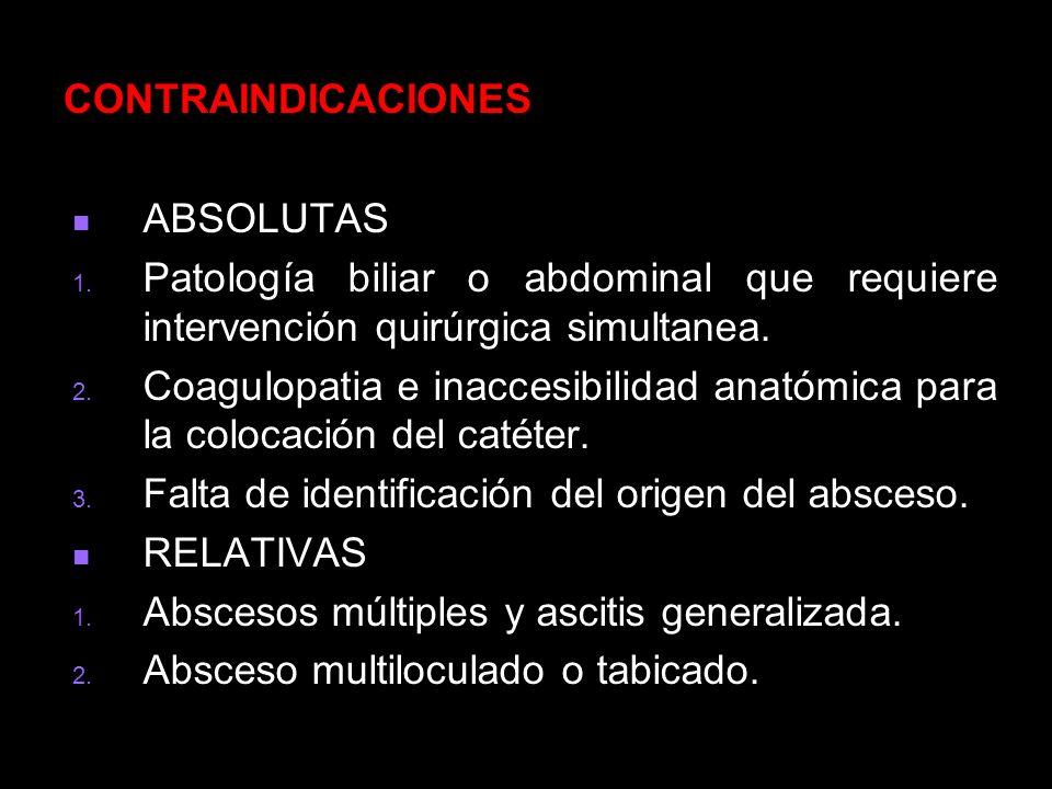 CONTRAINDICACIONES ABSOLUTAS. Patología biliar o abdominal que requiere intervención quirúrgica simultanea.