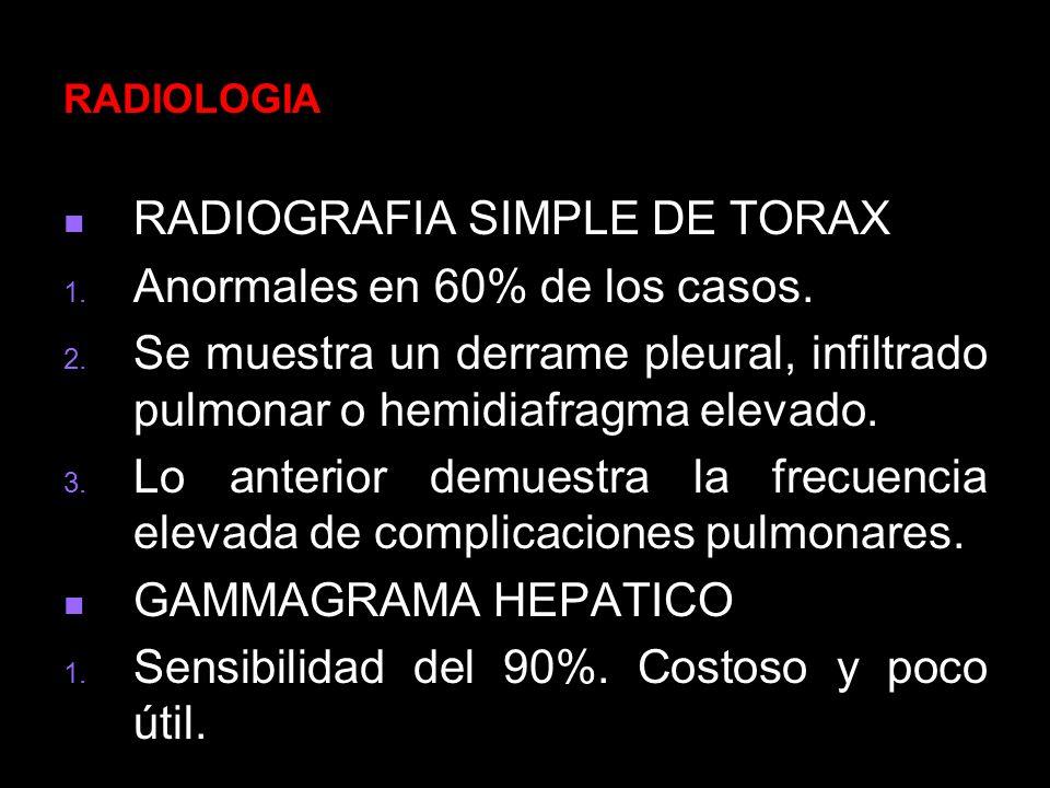 RADIOGRAFIA SIMPLE DE TORAX Anormales en 60% de los casos.