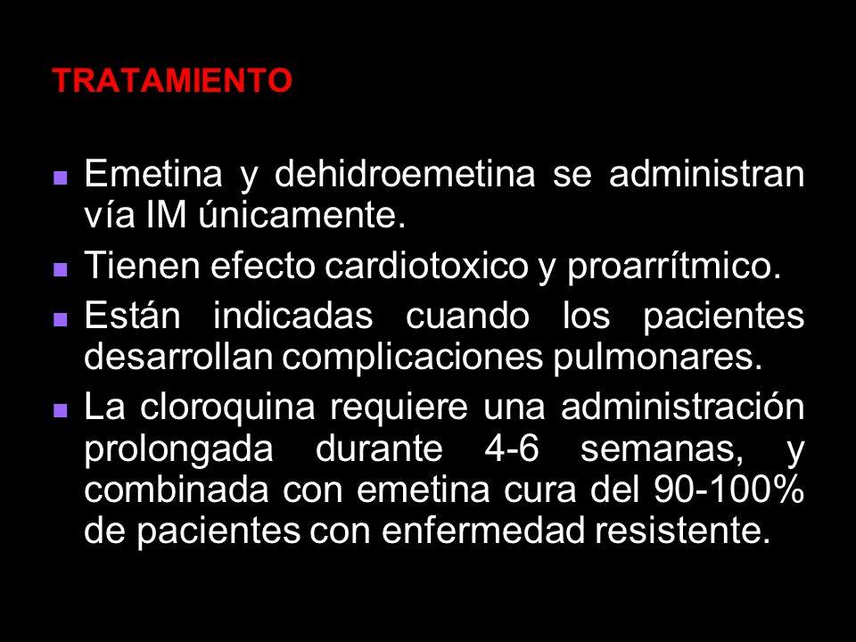 Emetina y dehidroemetina se administran vía IM únicamente.