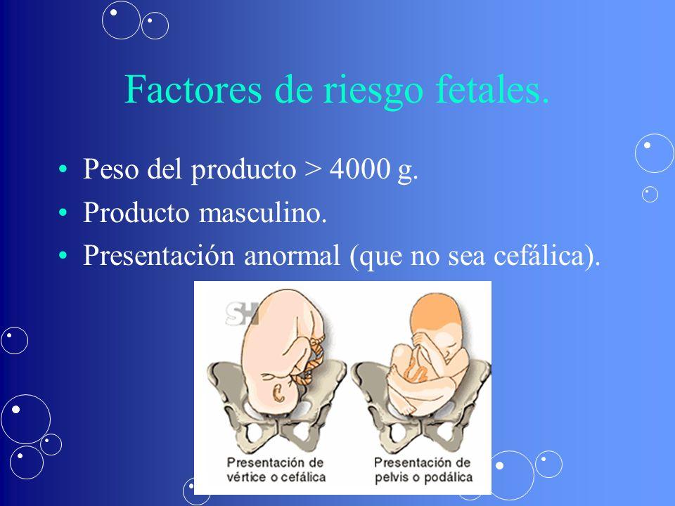 Factores de riesgo fetales.