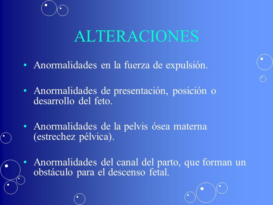 ALTERACIONES Anormalidades en la fuerza de expulsión.