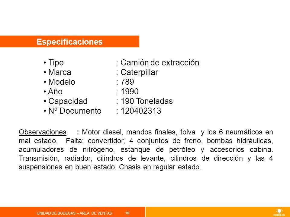 Tipo : Camión de extracción Marca : Caterpillar Modelo : 789