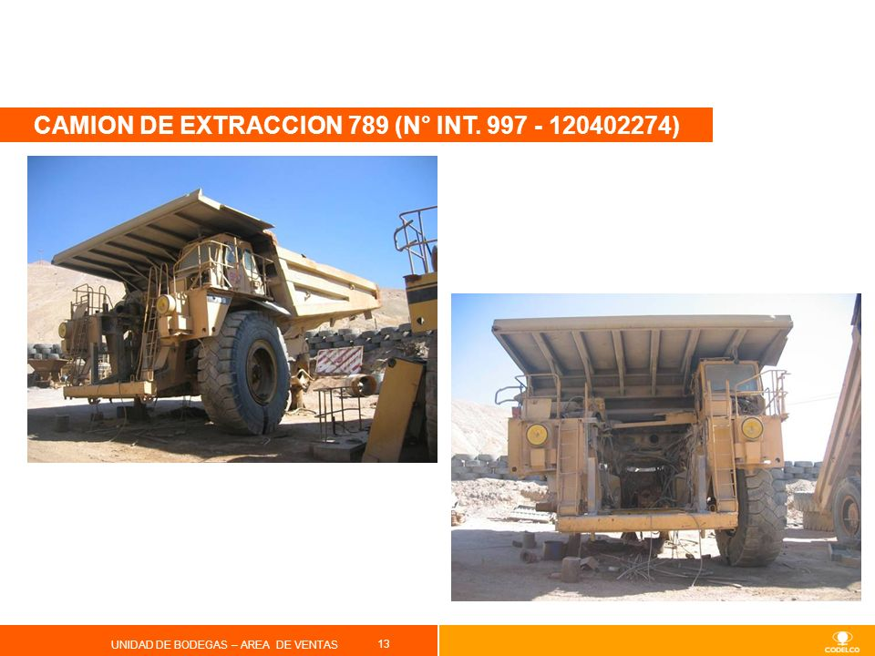 CAMION DE EXTRACCION 789 (N° INT. 997 - 120402274)