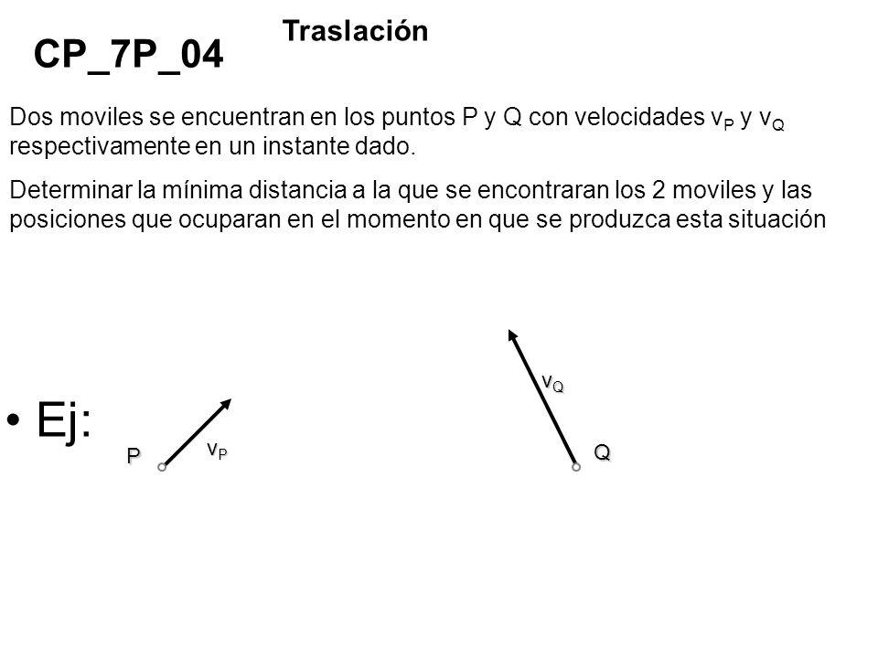 Traslación CP_7P_04. Dos moviles se encuentran en los puntos P y Q con velocidades vP y vQ respectivamente en un instante dado.