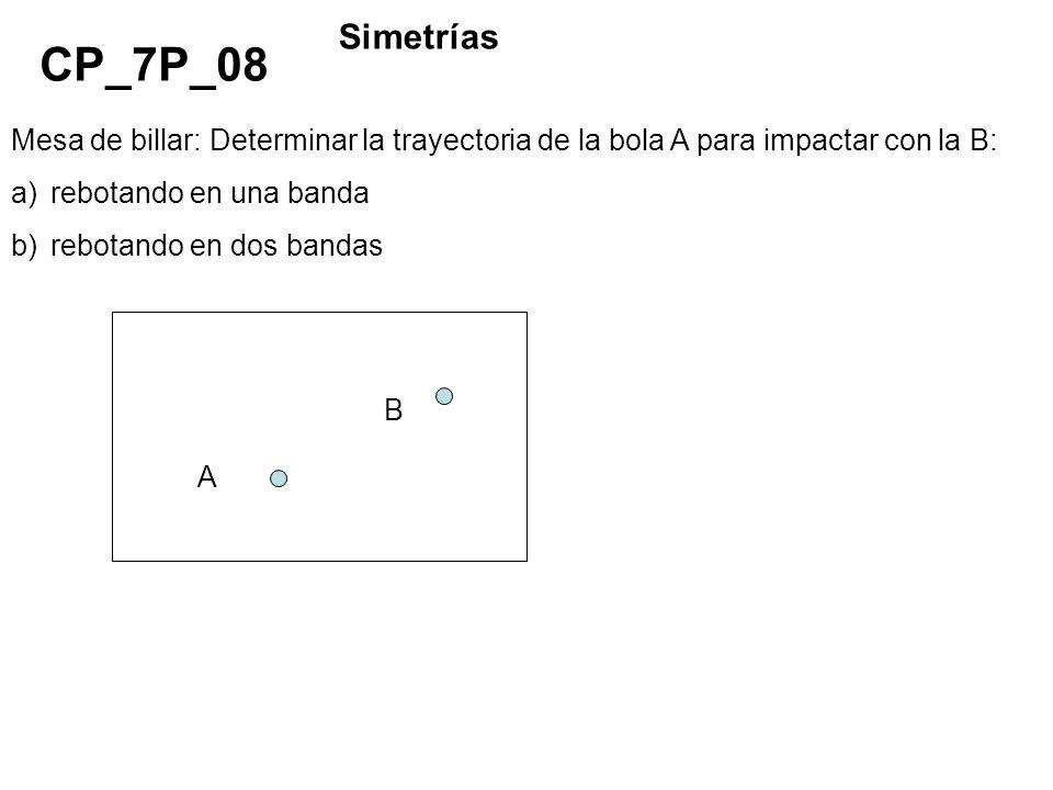 Simetrías CP_7P_08. Mesa de billar: Determinar la trayectoria de la bola A para impactar con la B: