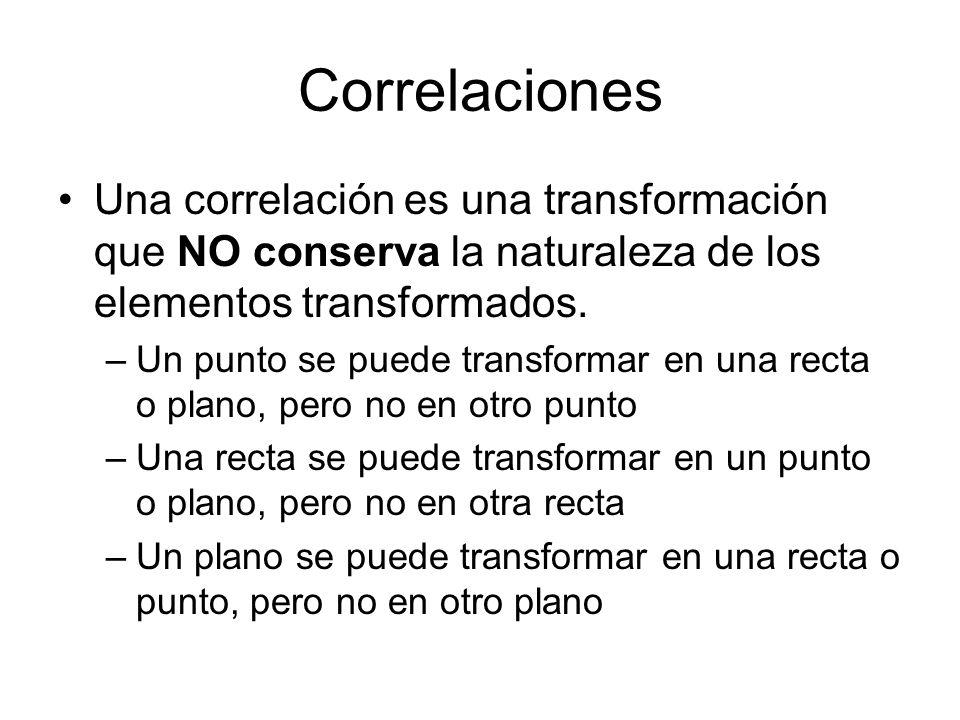 Correlaciones Una correlación es una transformación que NO conserva la naturaleza de los elementos transformados.