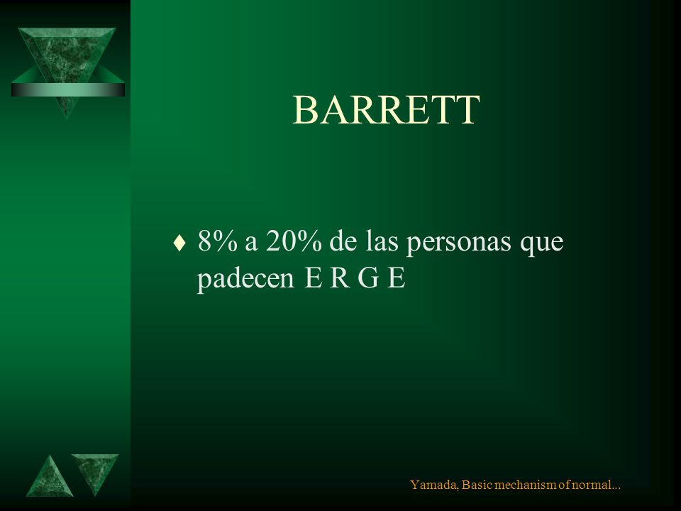 BARRETT 8% a 20% de las personas que padecen E R G E