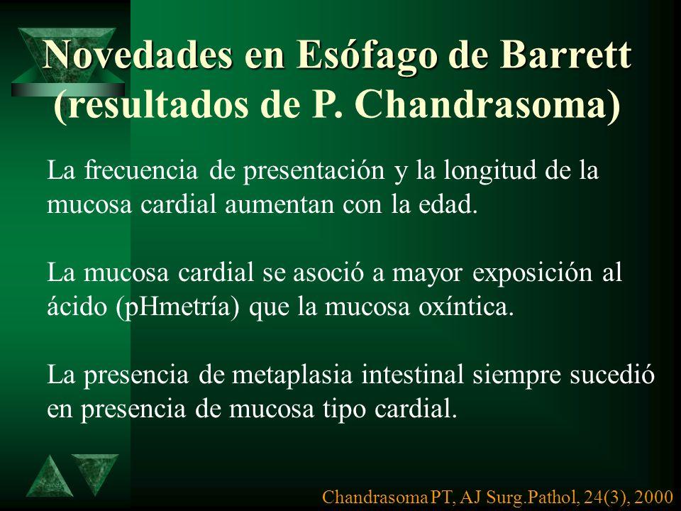 Novedades en Esófago de Barrett (resultados de P. Chandrasoma)