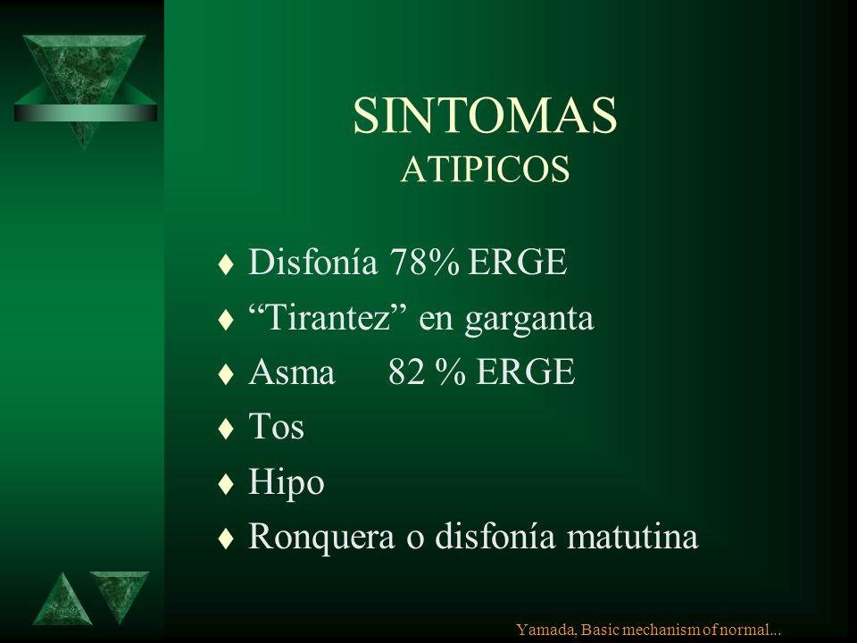 SINTOMAS ATIPICOS Disfonía 78% ERGE Tirantez en garganta