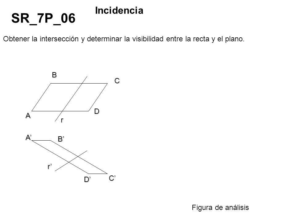 Incidencia SR_7P_06. Obtener la intersección y determinar la visibilidad entre la recta y el plano.