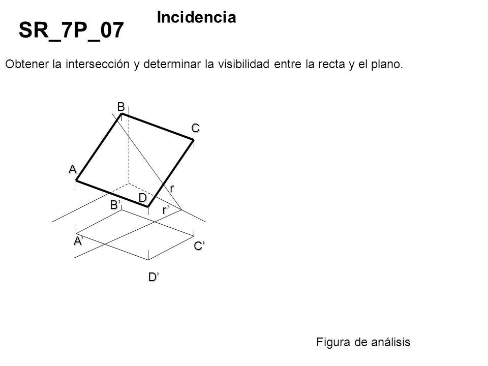 Incidencia SR_7P_07. Obtener la intersección y determinar la visibilidad entre la recta y el plano.