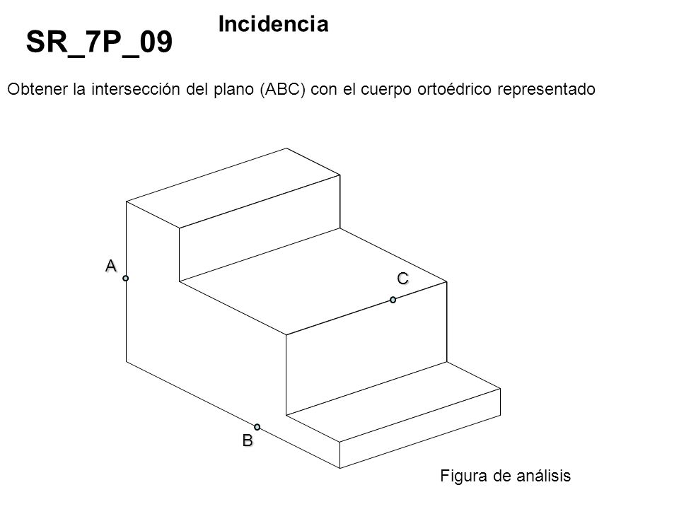 Incidencia SR_7P_09. Obtener la intersección del plano (ABC) con el cuerpo ortoédrico representado.