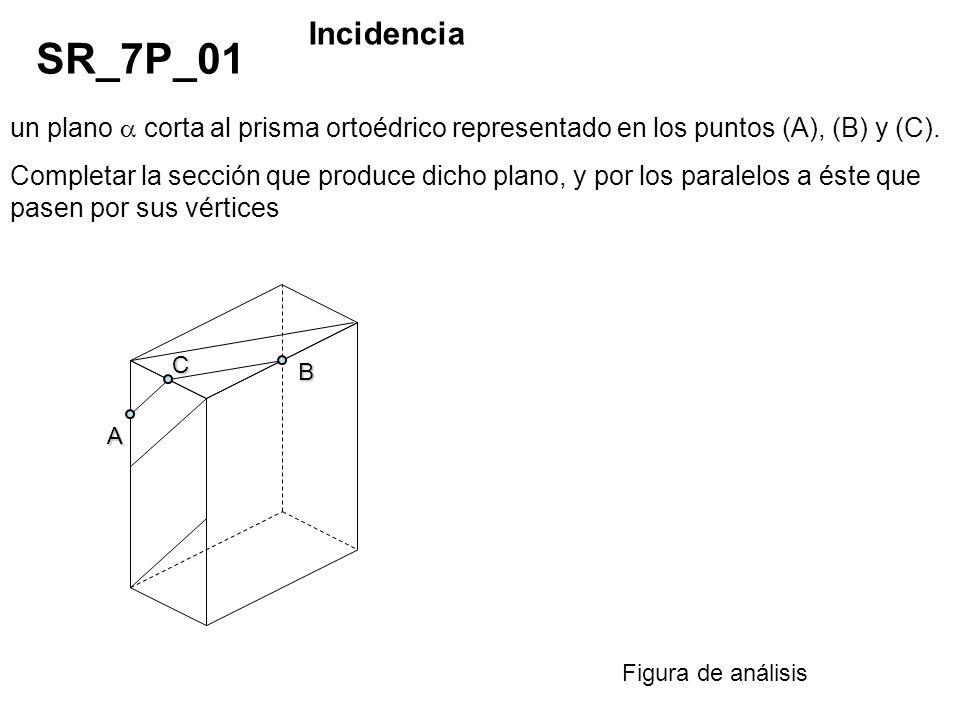 Incidencia SR_7P_01. un plano  corta al prisma ortoédrico representado en los puntos (A), (B) y (C).
