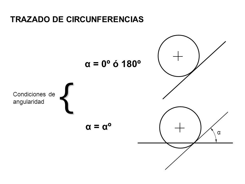{ α = 0º ó 180º α = αº TRAZADO DE CIRCUNFERENCIAS Condiciones de