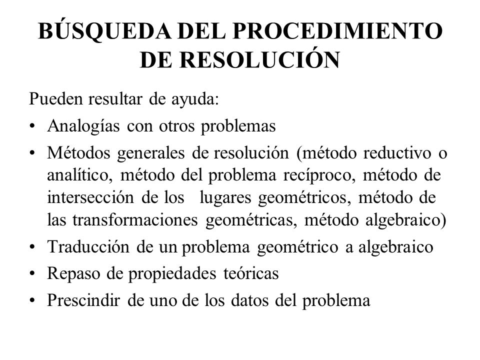 BÚSQUEDA DEL PROCEDIMIENTO DE RESOLUCIÓN