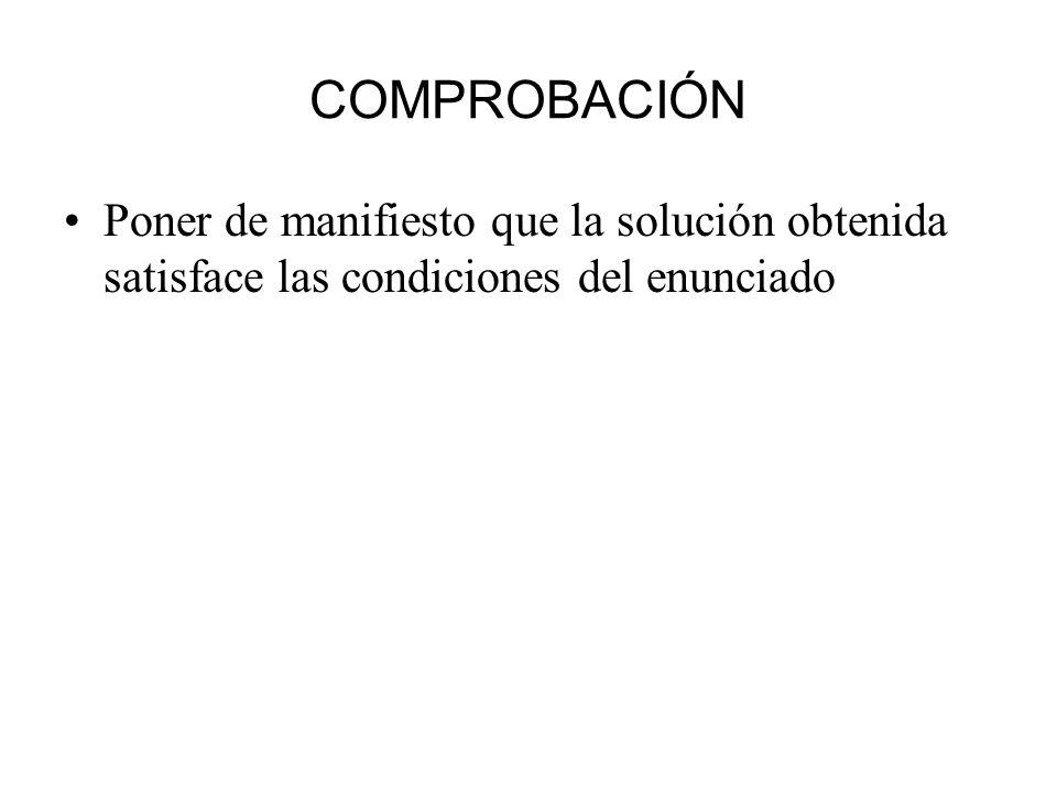 COMPROBACIÓN Poner de manifiesto que la solución obtenida satisface las condiciones del enunciado