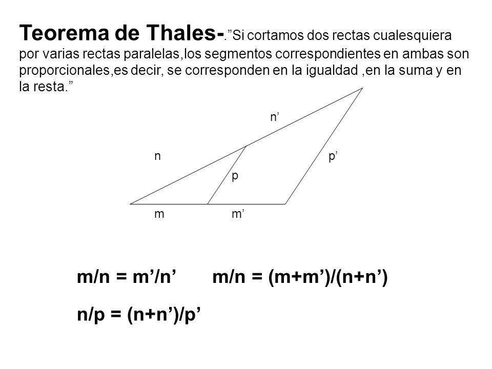 Teorema de Thales-. Si cortamos dos rectas cualesquiera por varias rectas paralelas,los segmentos correspondientes en ambas son proporcionales,es decir, se corresponden en la igualdad ,en la suma y en la resta.