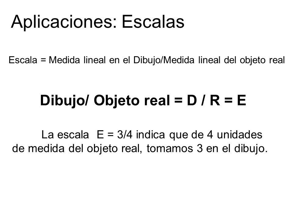 Dibujo/ Objeto real = D / R = E