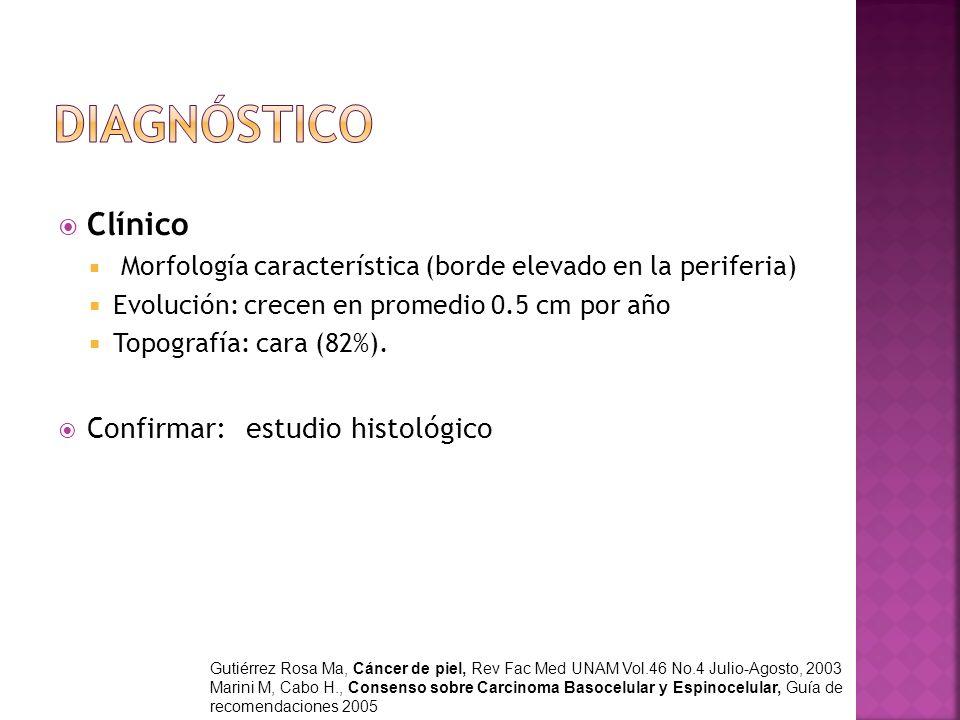 Diagnóstico Clínico Confirmar: estudio histológico