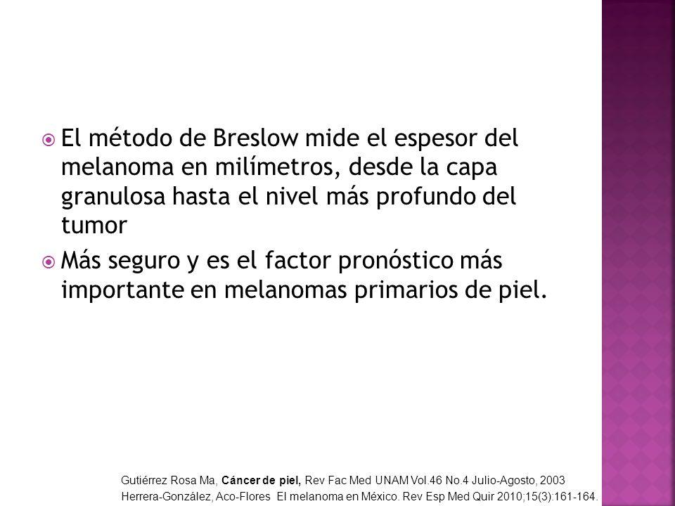 El método de Breslow mide el espesor del melanoma en milímetros, desde la capa granulosa hasta el nivel más profundo del tumor