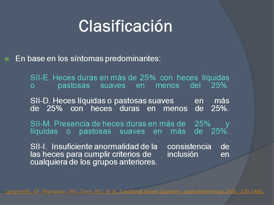 Clasificación En base en los síntomas predominantes: