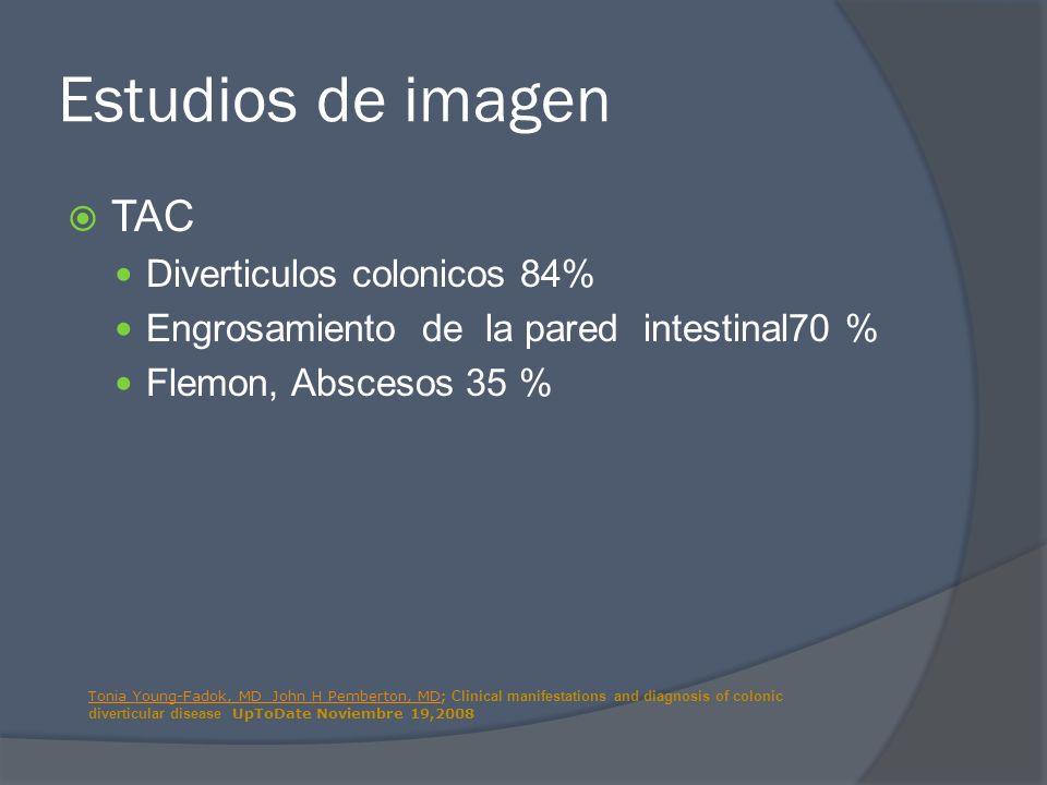 Estudios de imagen TAC Diverticulos colonicos 84%