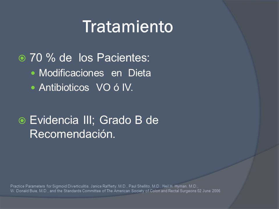 Tratamiento 70 % de los Pacientes: