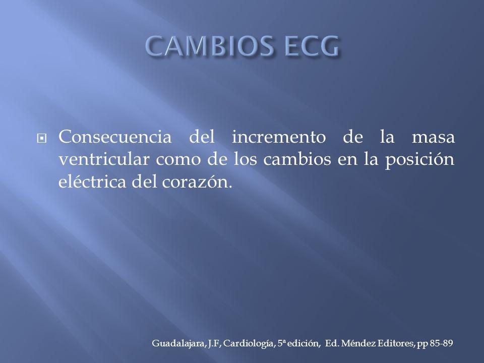 CAMBIOS ECG Consecuencia del incremento de la masa ventricular como de los cambios en la posición eléctrica del corazón.