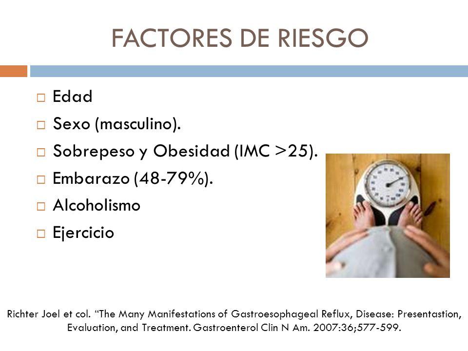 FACTORES DE RIESGO Edad Sexo (masculino).