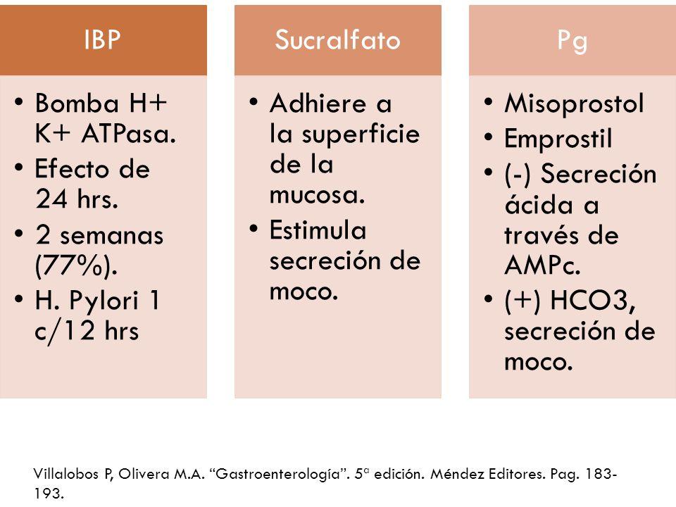 IBP Bomba H+ K+ ATPasa. Efecto de 24 hrs. 2 semanas (77%). H. Pylori 1 c/12 hrs. Sucralfato. Adhiere a la superficie de la mucosa.