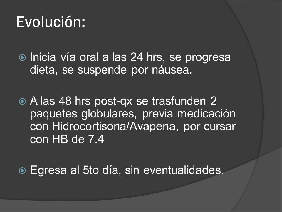Evolución: Inicia vía oral a las 24 hrs, se progresa dieta, se suspende por náusea.