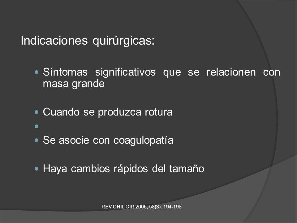Indicaciones quirúrgicas: