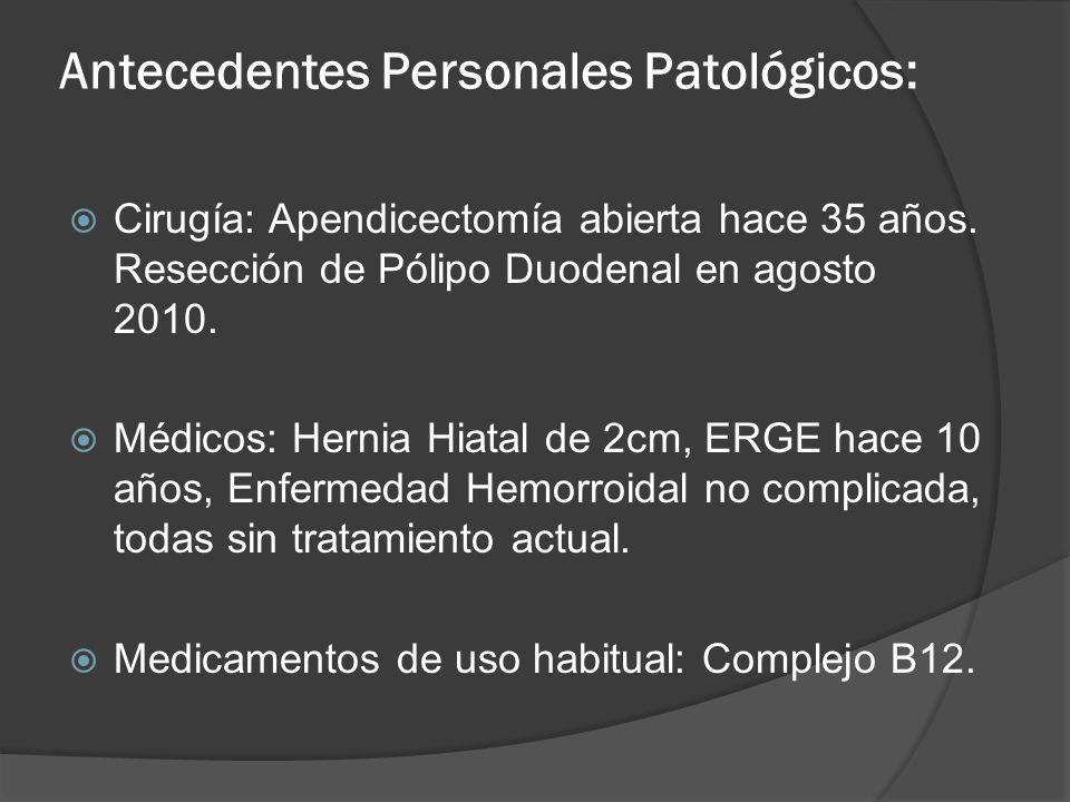 Antecedentes Personales Patológicos: