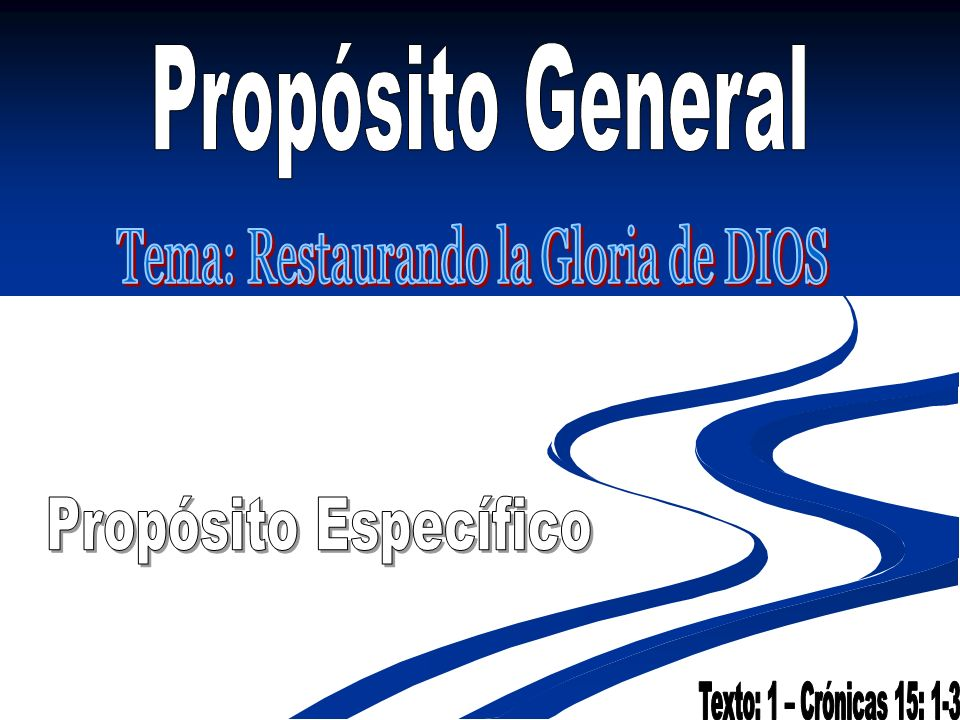 Tema: Restaurando la Gloria de DIOS
