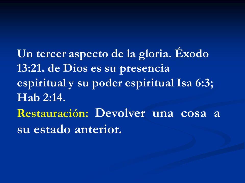 Un tercer aspecto de la gloria. Éxodo 13:21