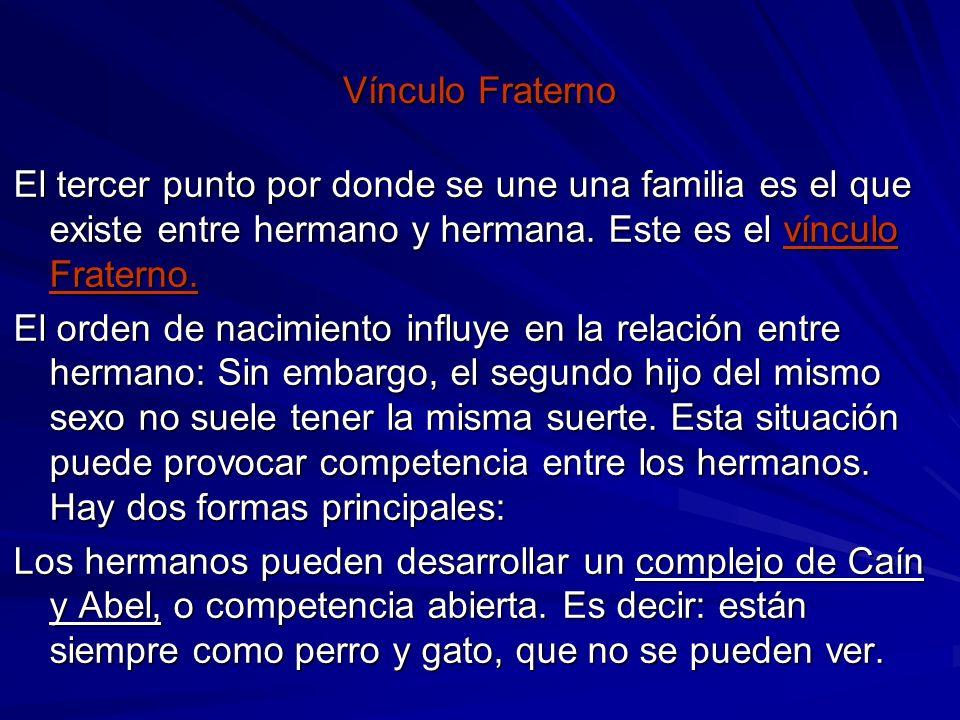 Vínculo FraternoEl tercer punto por donde se une una familia es el que existe entre hermano y hermana. Este es el vínculo Fraterno.