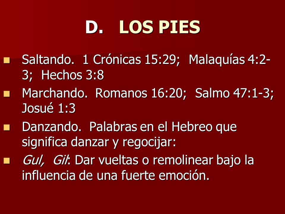 D. LOS PIES Saltando. 1 Crónicas 15:29; Malaquías 4:2-3; Hechos 3:8