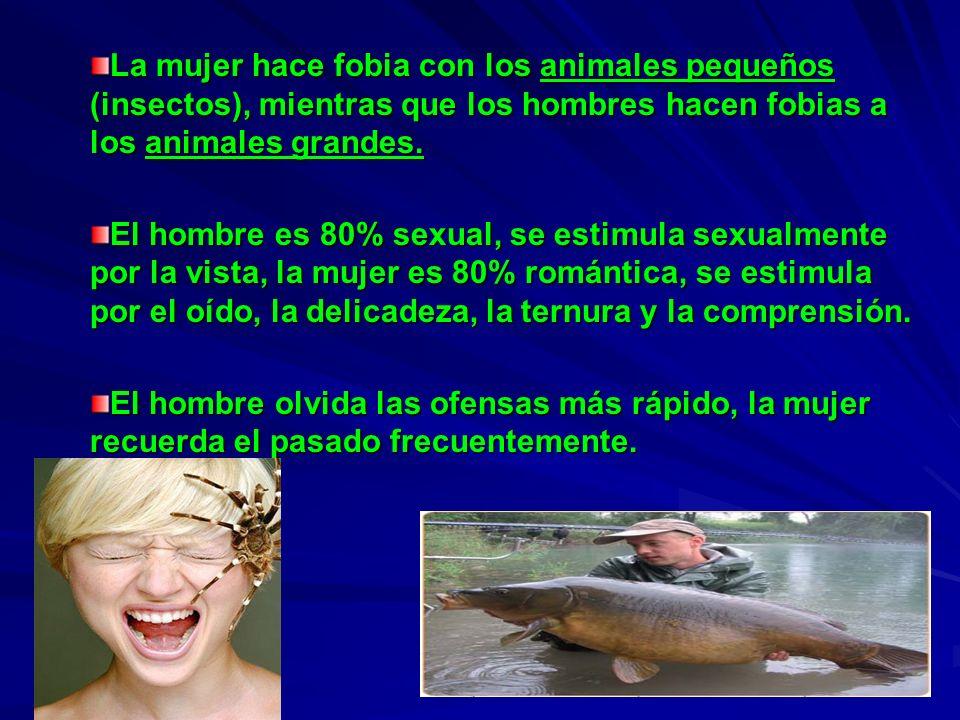 La mujer hace fobia con los animales pequeños (insectos), mientras que los hombres hacen fobias a los animales grandes.