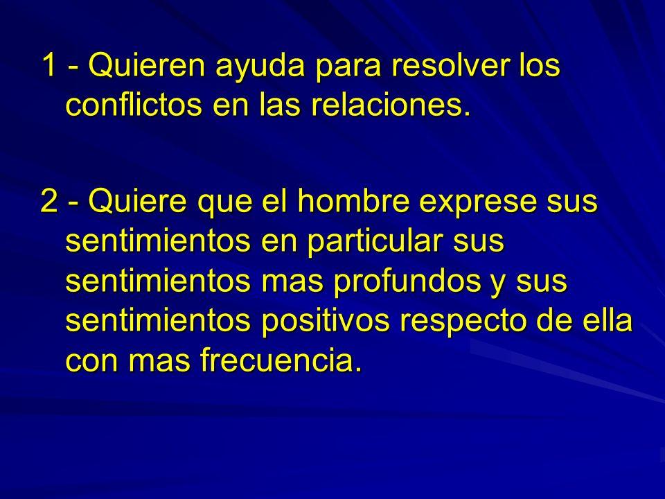 1 - Quieren ayuda para resolver los conflictos en las relaciones.