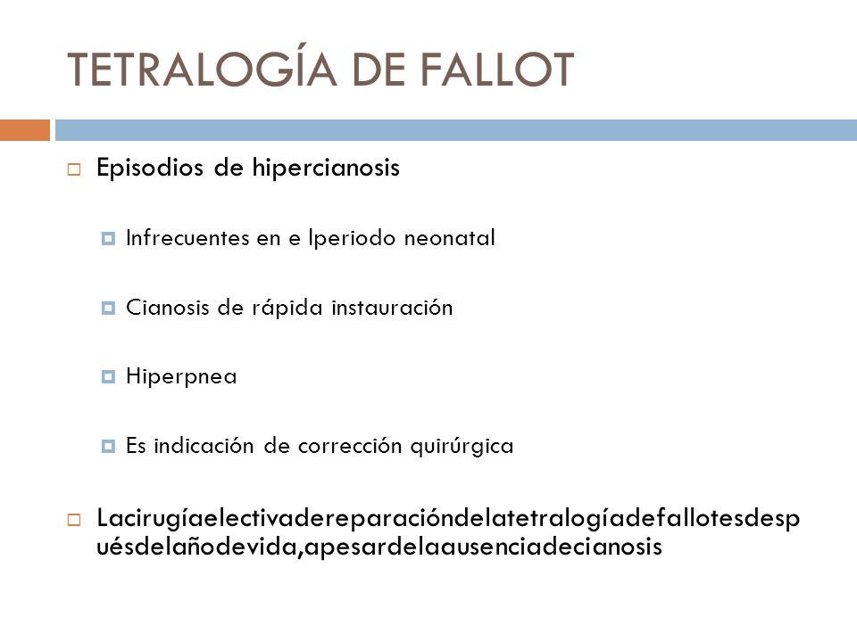 TETRALOGÍA DE FALLOT Episodios de hipercianosis