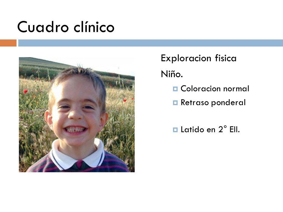 Cuadro clínico Exploracion fisica Niño. Coloracion normal